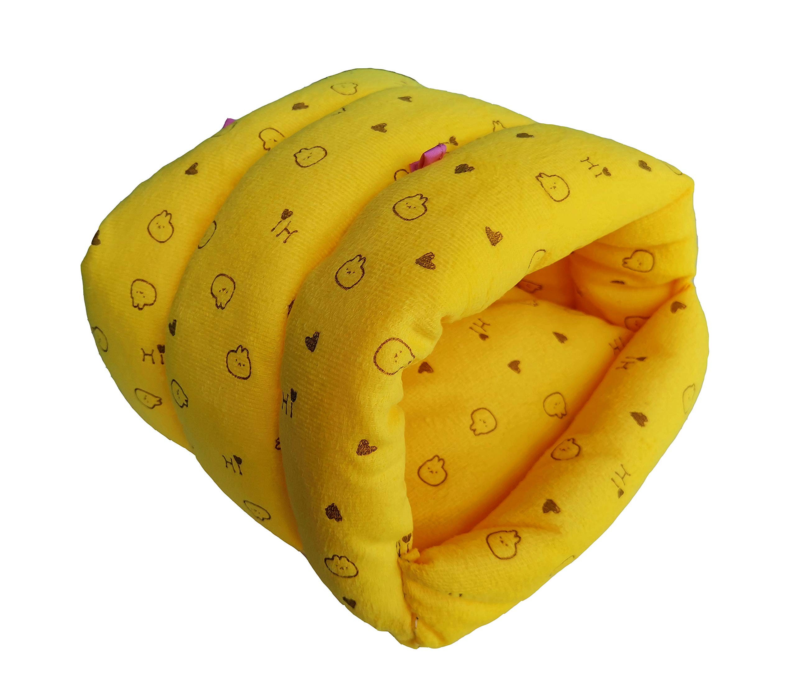 WOWOWMEOW Guinea-Pigs Bed,Hamster Bed,Small Animals Warm Hanging Cage Cave Bed (L, Heart-Yellow)