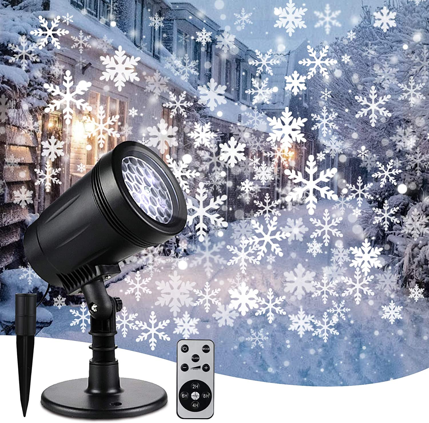Christmas Snowflake Projector Lights, Waterproof LED Projector Outdoor&Indoor, White Adjustable Snowflake Projector with Upgrade Wireless Remote Control, Spotlights Decor, Holiday, Wedding, Xmas Party