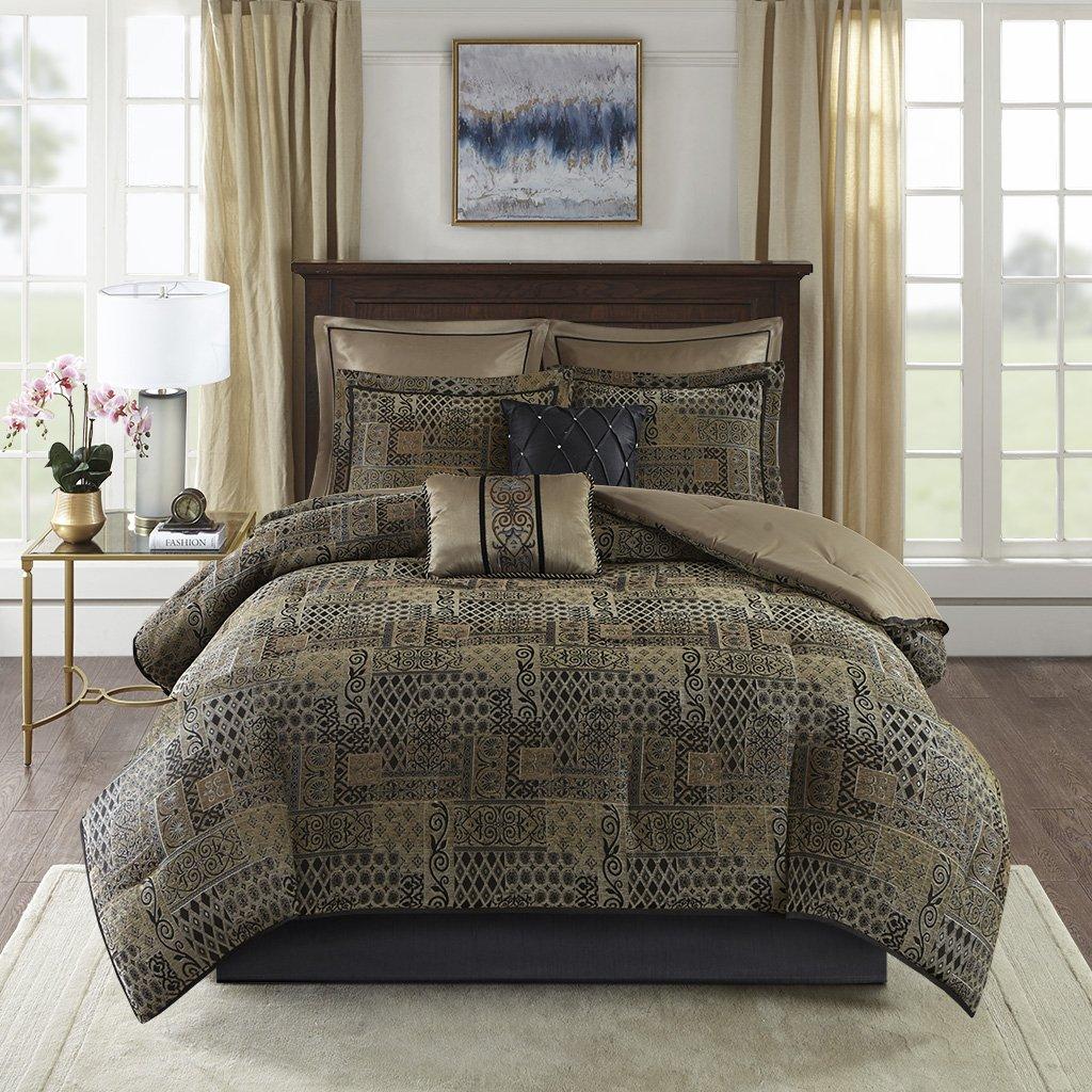 Madison Park Danville 8 Piece Chenille Jacquard Comforter Set Bedding, Queen Size, Black/Gold