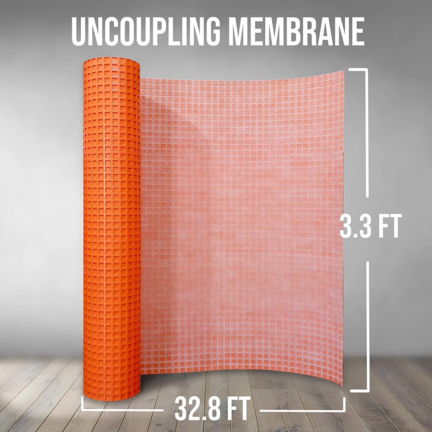 Uncoupling Membrane 3.3 feet x 32.8 feet // 108 Square Feet Waterproofing 1//8 inch Thick Anti-Fracture Tile Underlayment Mat Crack Isolation Membrane