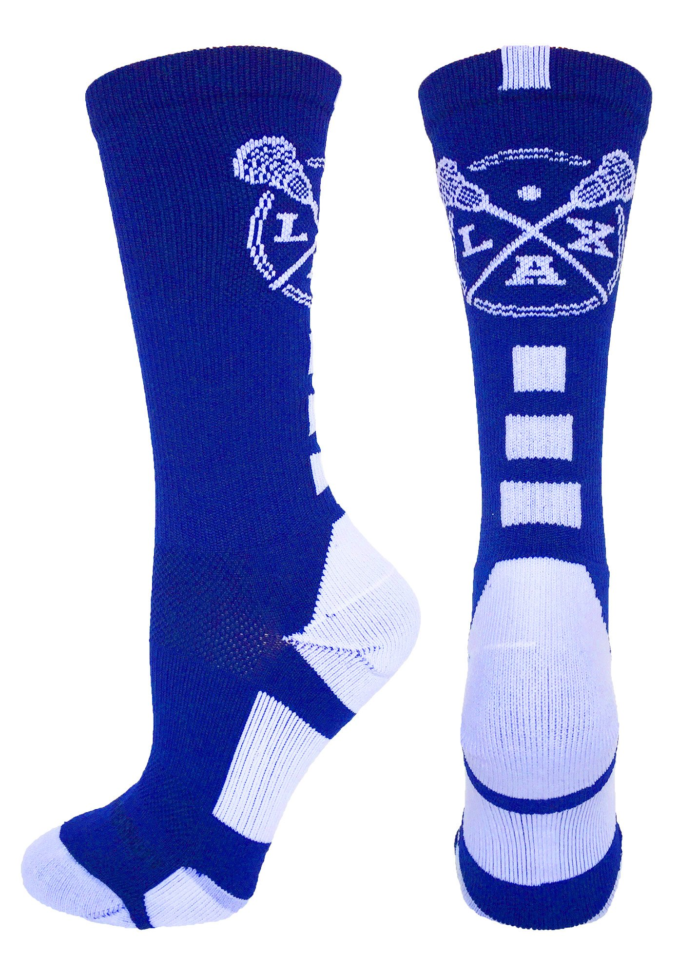 MadSportsStuff LAX Lacrosse Socks with Lacrosse Sticks Athletic Crew Socks (Royal/White, Large) by MadSportsStuff
