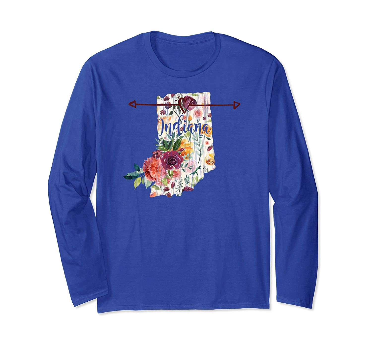Indiana Floral Watercolor Distressed Long Sleeve T-Shirt-ah my shirt one gift