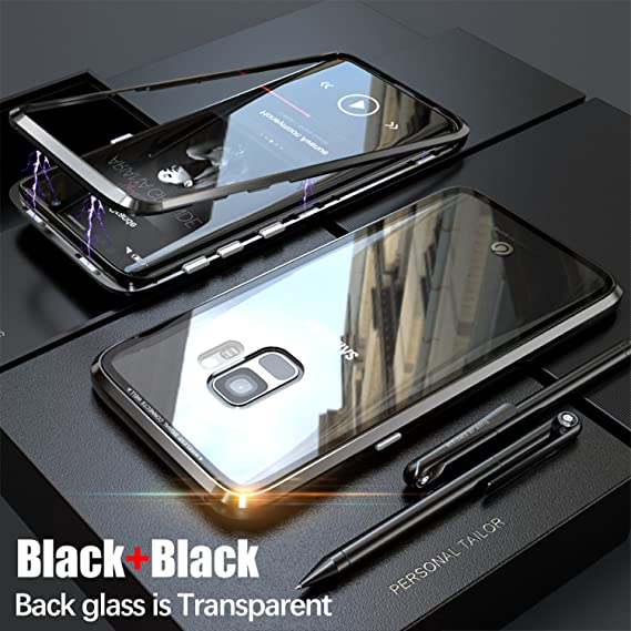 innovative design a1756 7b2da Magnetic Adsorption case for samsung S9 case luxury metal  bumper+Transparent tempered glass for samsung galaxy s9 plus cover s9p  (Black, Samsung S9)