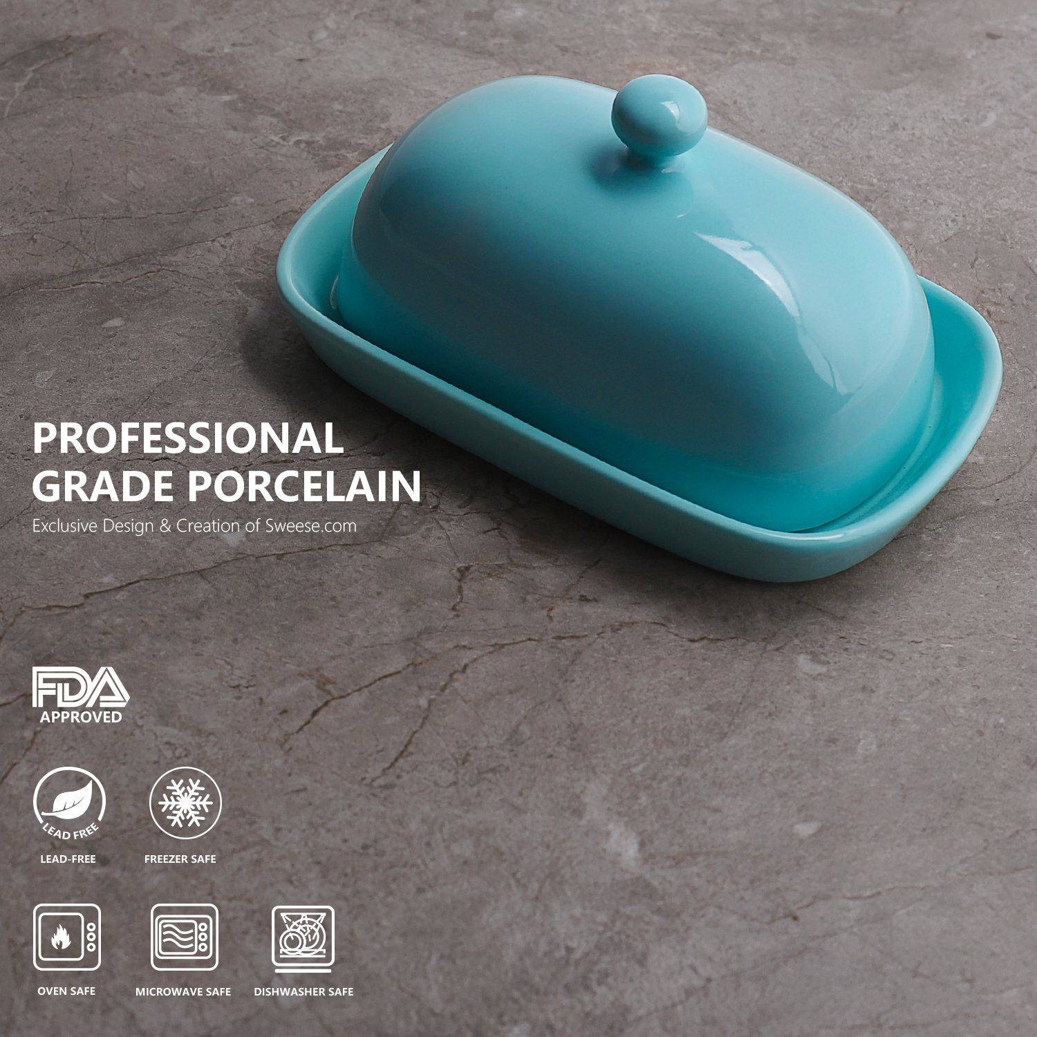 Sweese 3165 Porcelain Cute Butter Dish with Lid, Perfect for East/West Butter, Turquoise by Sweese (Image #2)