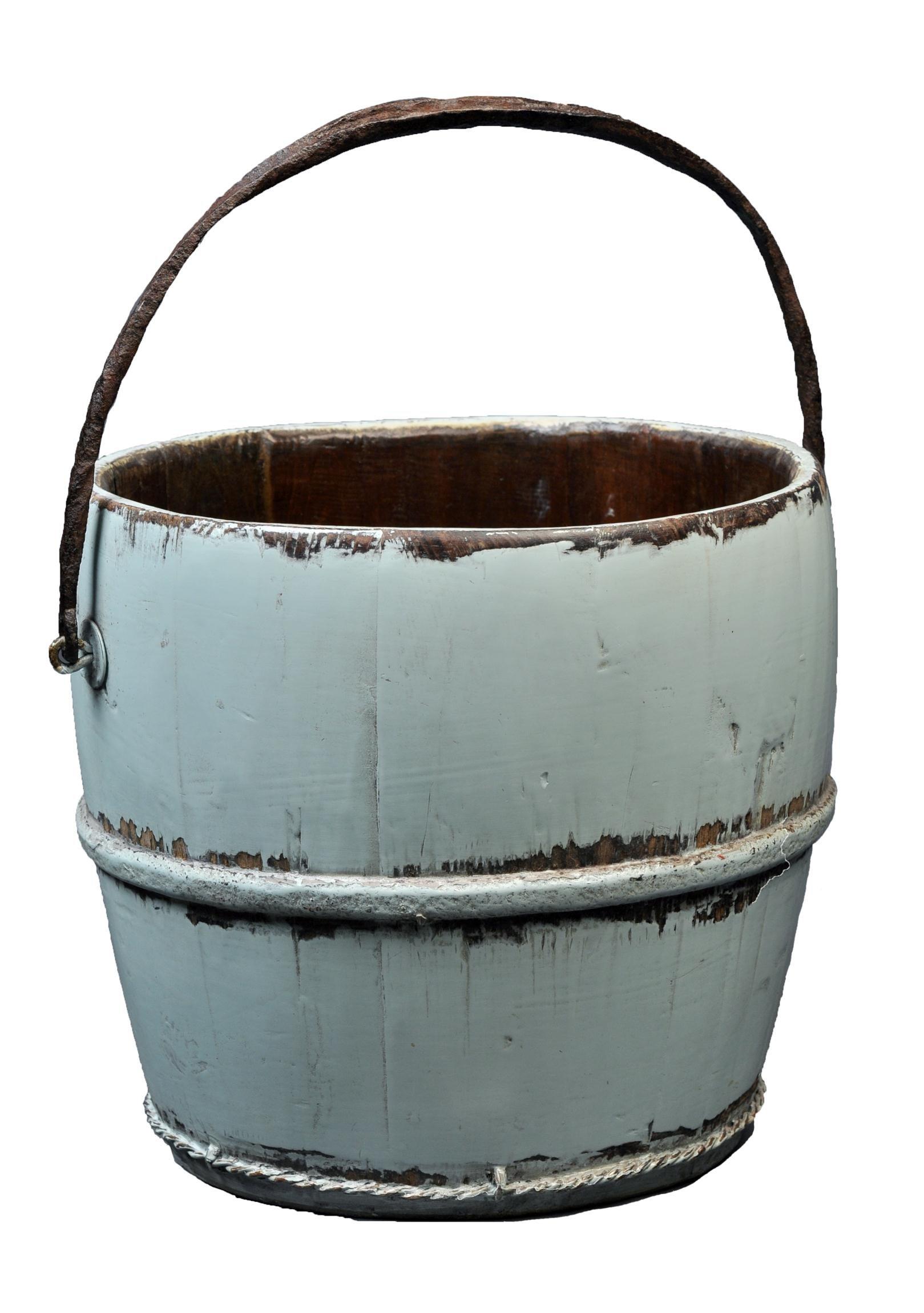 Antique Revival Wooden Kitchen Water Bucket, Aqua | eBay