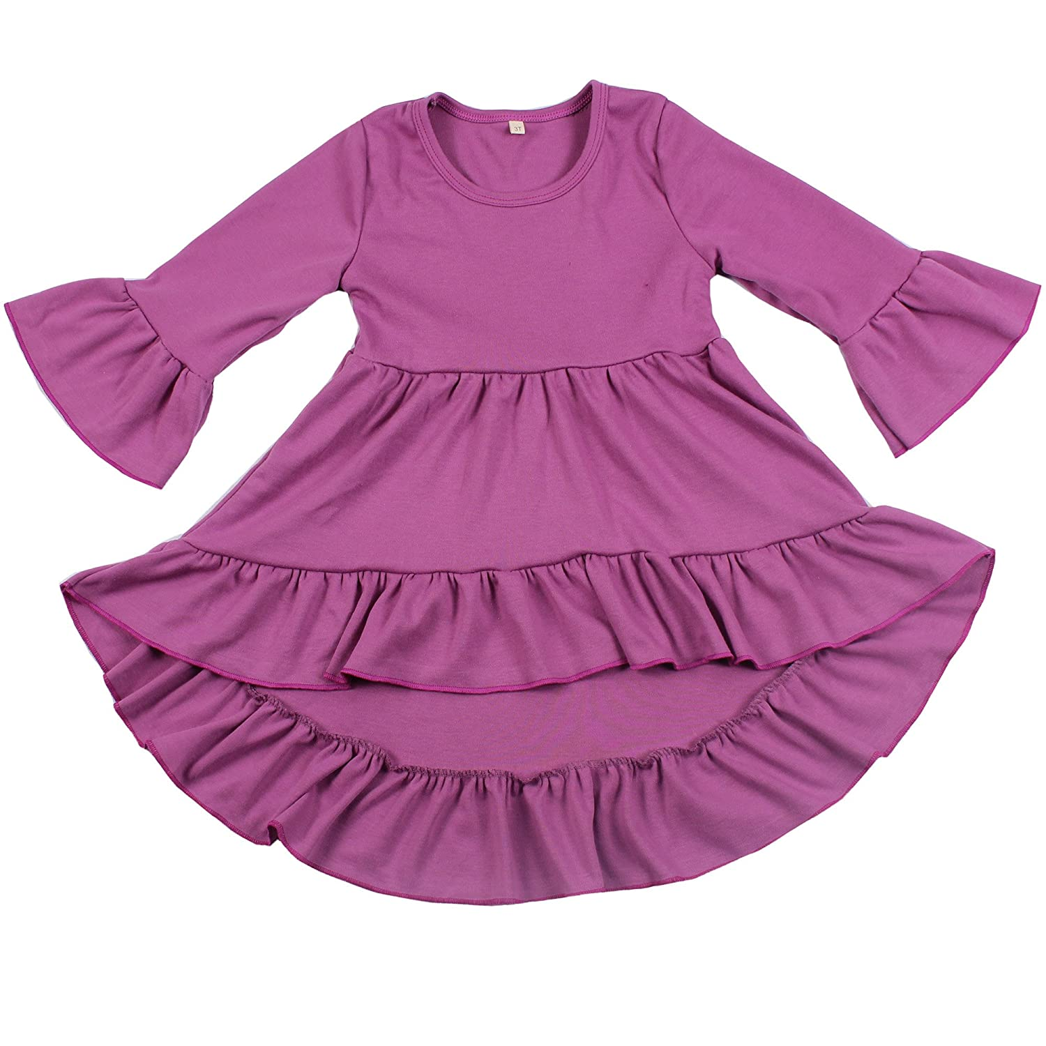 Yawoo Haan Toddler Girls 3/4 Sleeve Boutique Dresses Casual High Low Dress