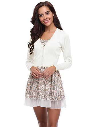 958b279de00da Abollria Gilet femme Court Boléro Femme Veste Cardigan Bouton Manches  Longues Tricot Classique Elégante Jersey Chic