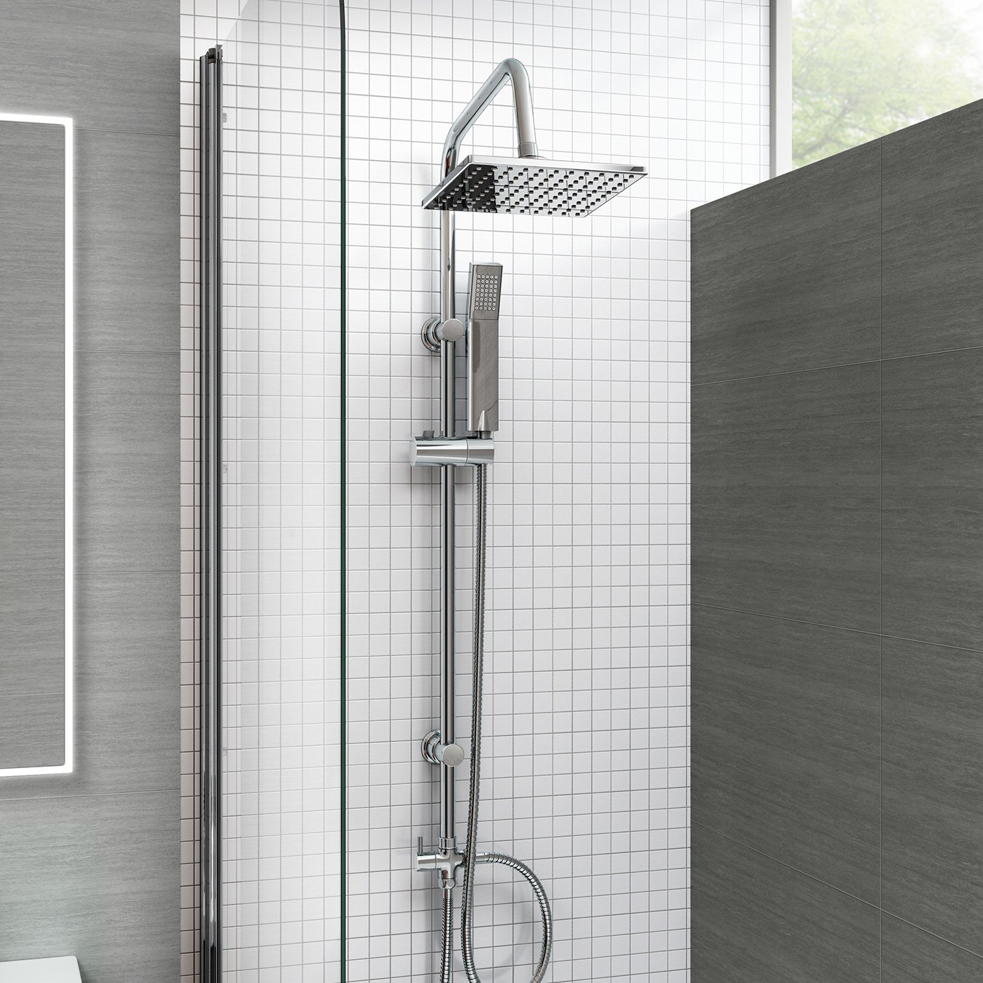 iBathUK Modern Chrome Riser Rail Mixer Square Shower Head Kit for ...