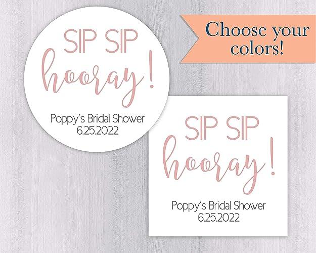 987a88eb616 Amazon.com  Sip Sip Hooray Bridal Shower Favor Stickers