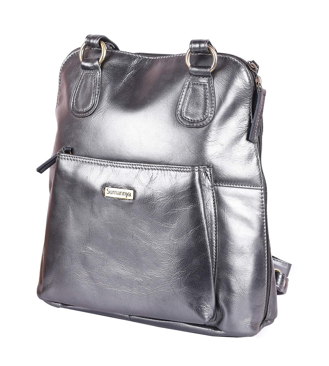 598a081e0d17 Buy Sumannya Genuine Leather Grey Ladies Handbag Backpack Online at Low  Prices in India - Amazon.in