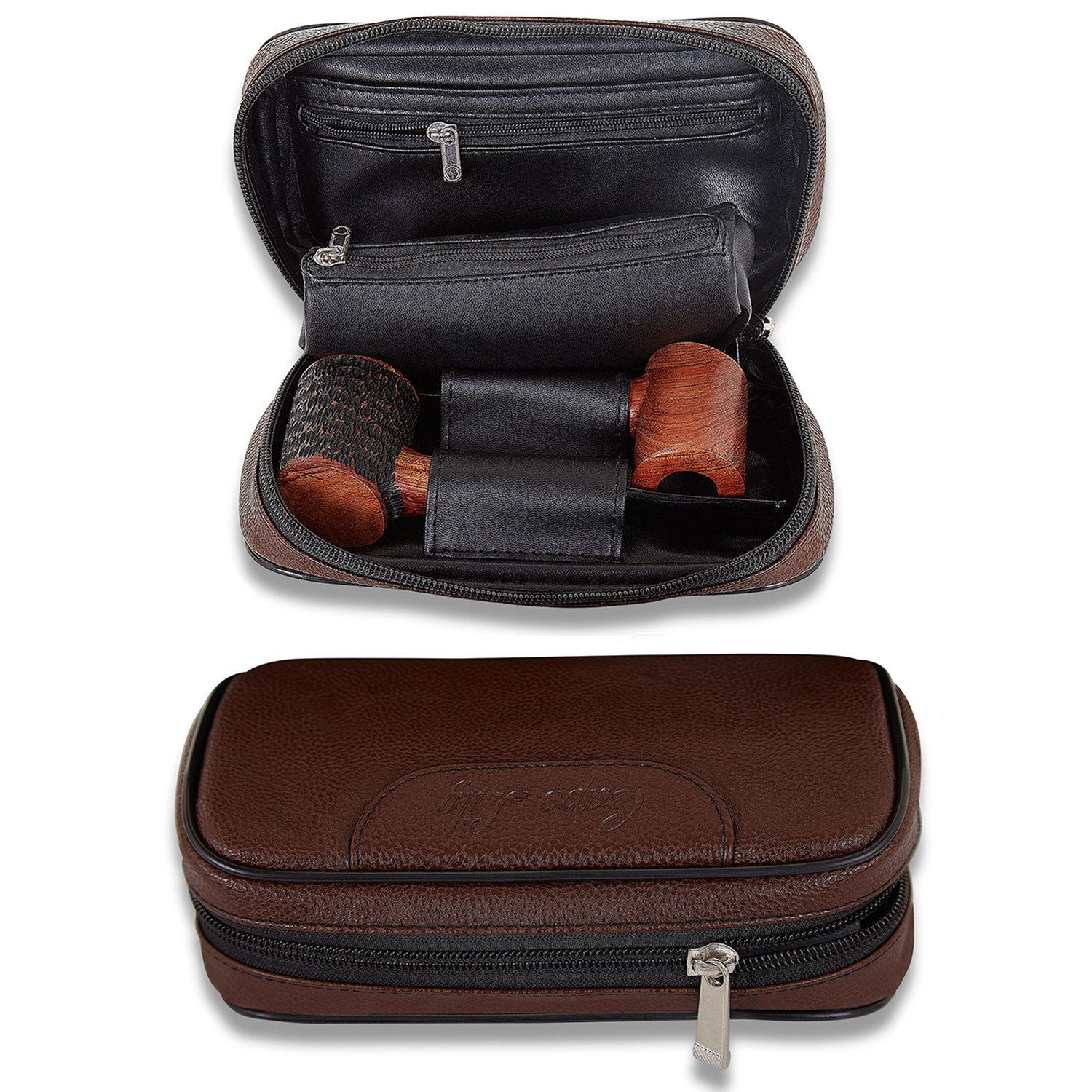Pipe Bag, PU Leather Tobacco Pipe Accessories Pouch Holder 2 Pipes, Brown, by Capo Lily