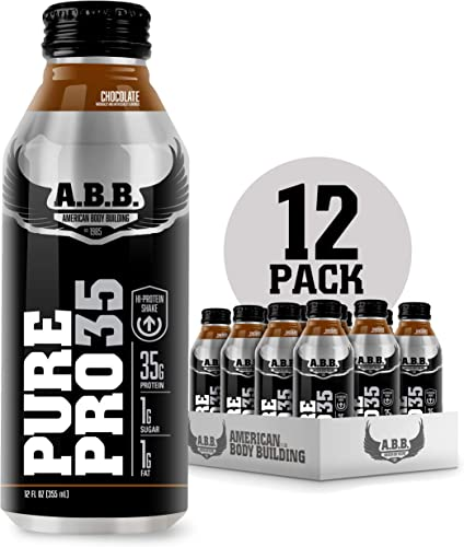 American Body Building Pure Pro 35, Premium Protein Shakes, Muscle Recovery, HI-Protein, Low Fat, Low Sugar, Chocolate Flavored Ready to Drink 12 oz Bottles, 12 Count