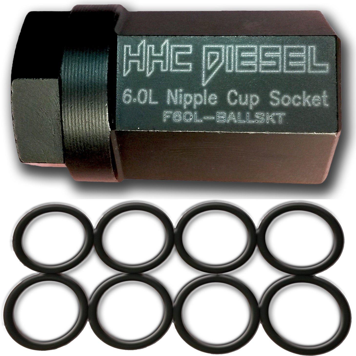 HHC Diesel ~Ford 6.0L Diesel Nipple Cup Socket Kit~ O-Rings & Tool (8: Heavy Duty Viton O-Rings & 1/2'' Drive Nipple Cup Socket) F60L-BALLKIT