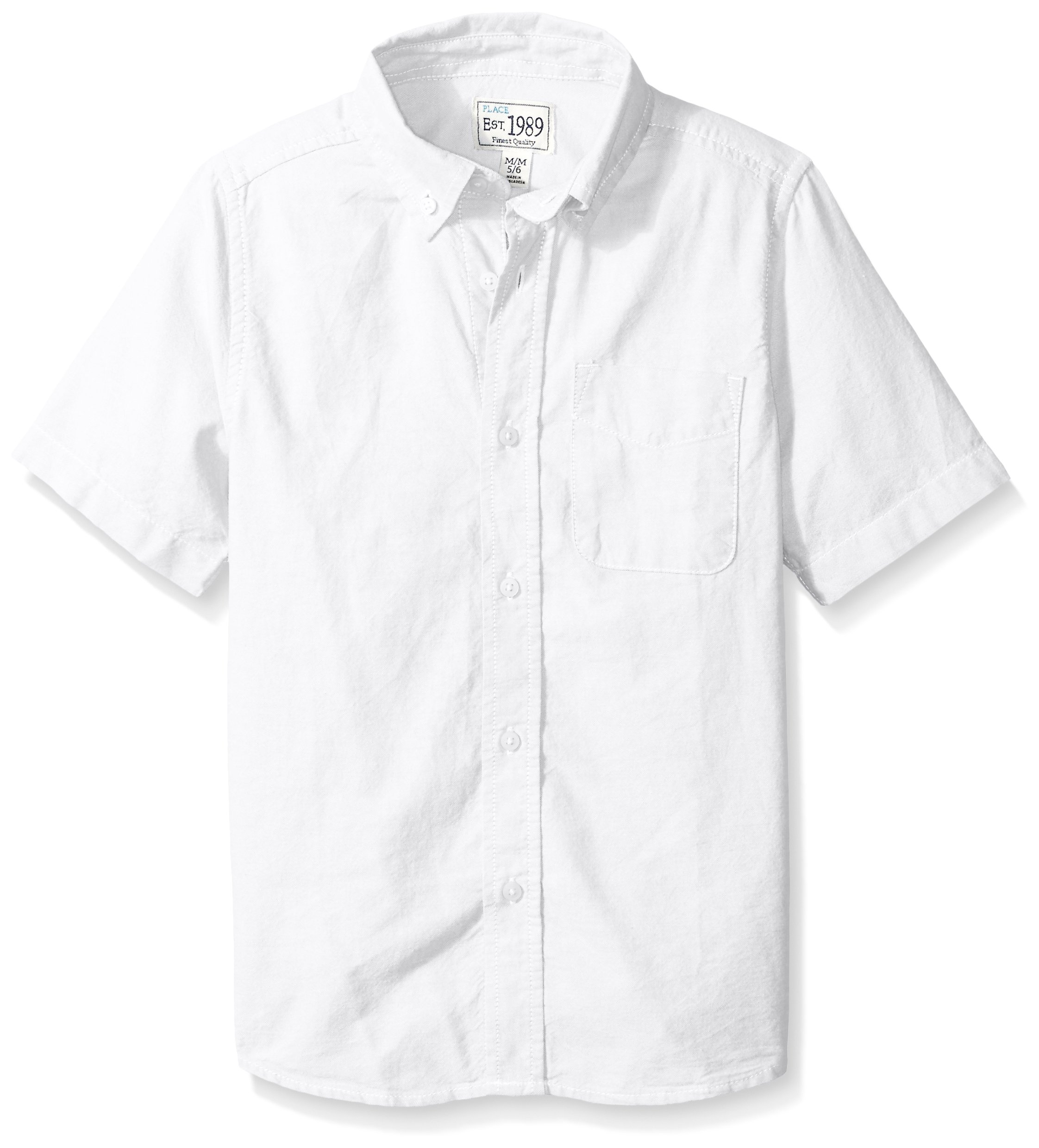 The Children's Place Boys' Big Short Sleeve Uniform Oxford Shirt, White 4765, Large/10/12