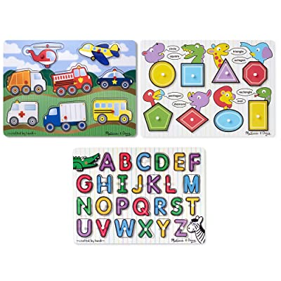 Melissa & Doug Wooden Peg Puzzles Set - Alphabet, Vehicles, and Shapes: Toys & Games
