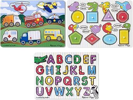 and Shapes Alphabet Melissa /& Doug Wooden Peg Puzzles Set Vehicles