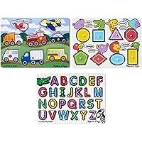 Melissa & Doug Wooden Peg Puzzles Set - Alphabet, Vehicles, and Shapes