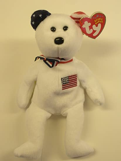 Image Unavailable. Image not available for. Color  TY Beanie Baby - AMERICA  the Bear (White Version ... b932e10aba3a
