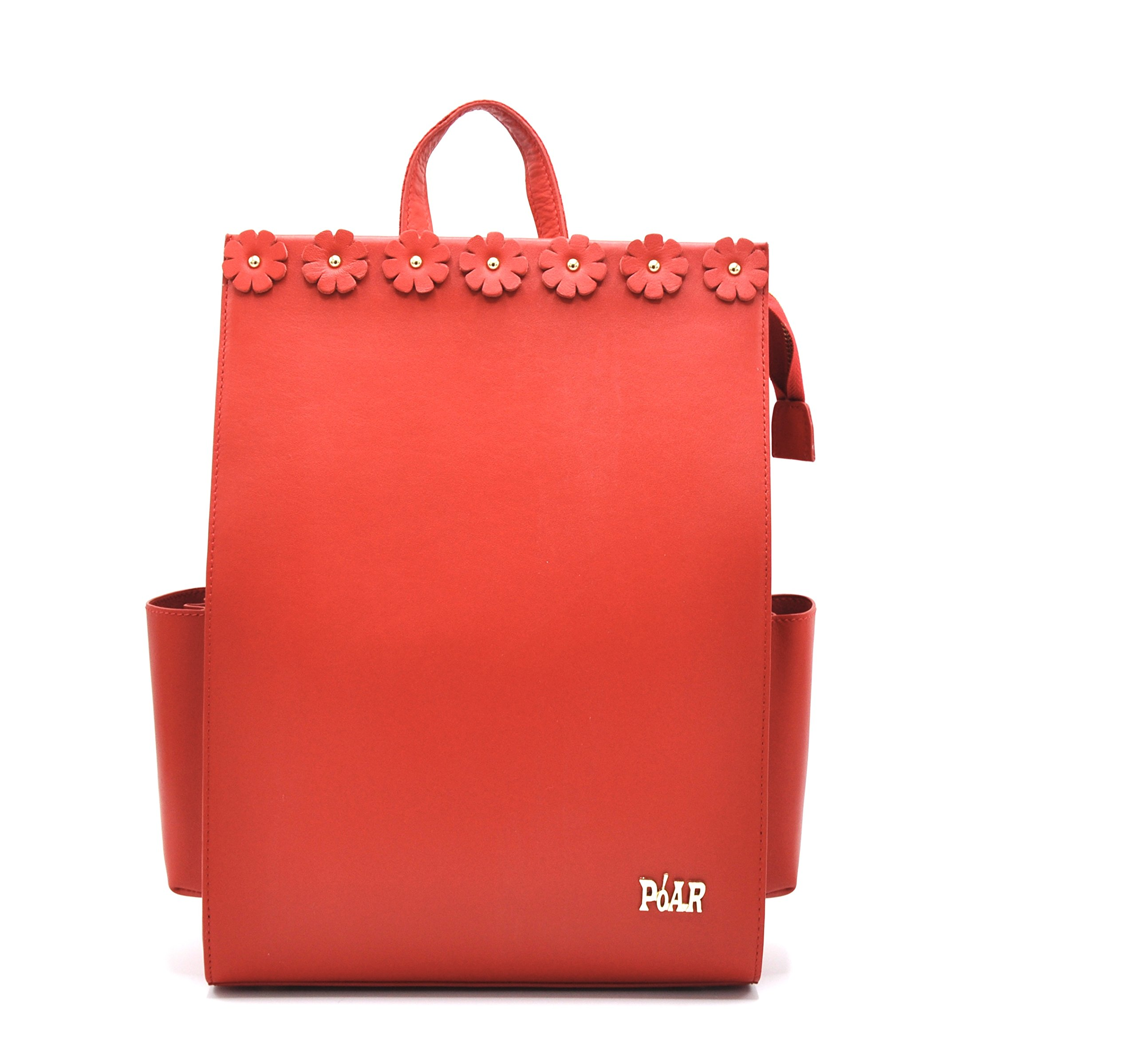 PóAR Commuter Women HandBag (Red-Flower) (RED) by PóAR