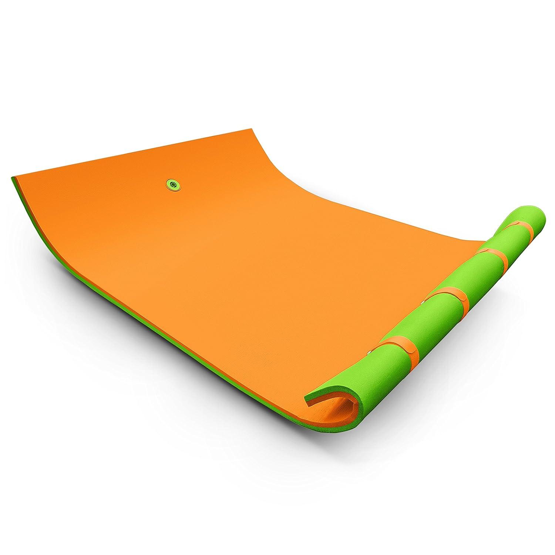 Anhon Wasser-Matten-Reihen-Sich Hin- und herbewegende Schaum-Auflage-Wasser-Erholung(9x6ft Orange grün)