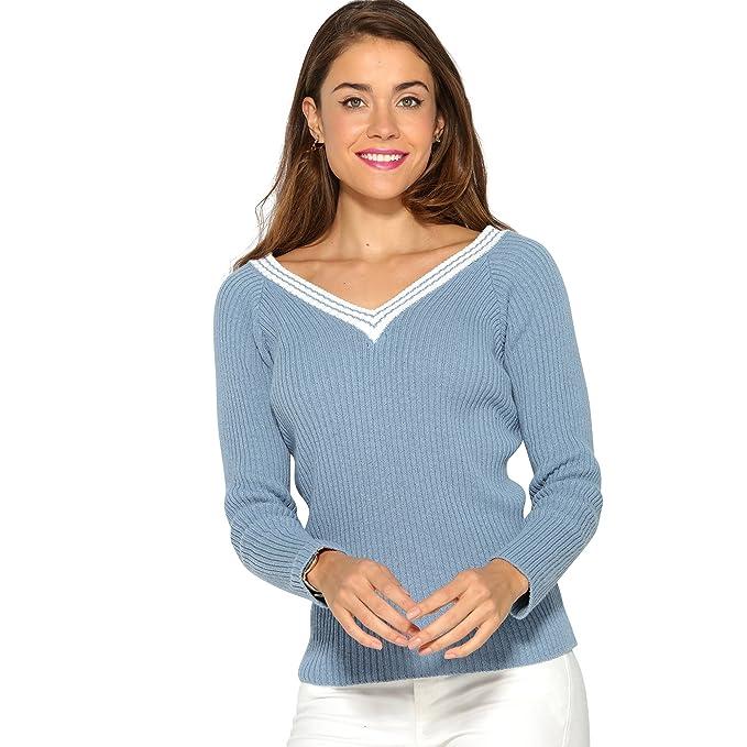 VENCA Jersey Tricotado en Punto canalé Mujer by Vencastyle - 012956, Azul/Blanco, Unica: Amazon.es: Ropa y accesorios