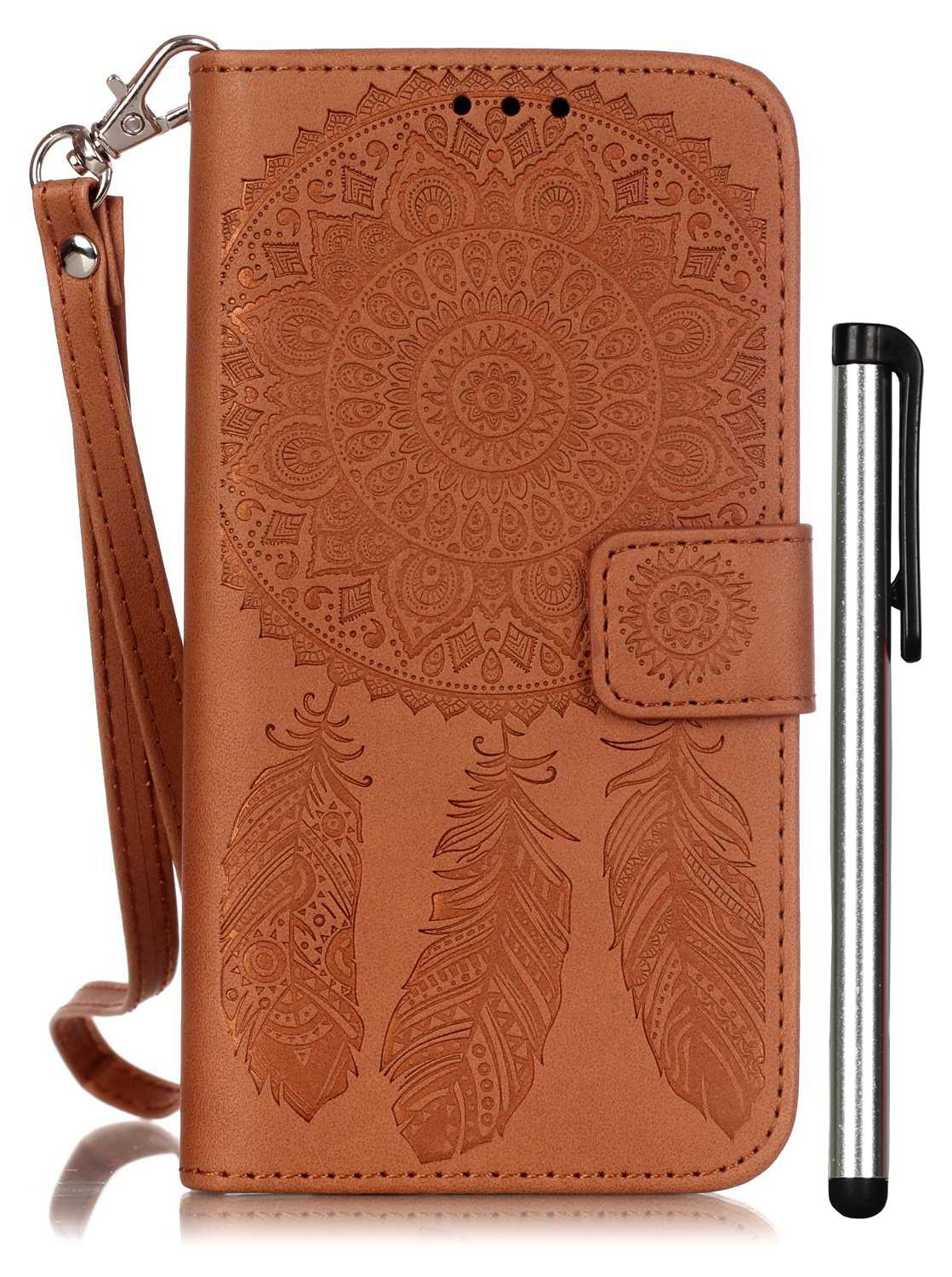 Galaxy S5 Phone Case Brown Leather Wallet Full Body Magnet Book Cover Cell Phone Accessories with Stand 3 Credit Card Holders Cash Slot Wrist Strap Handmade Embossed Fashion Wind Chimes I9600 SV G900
