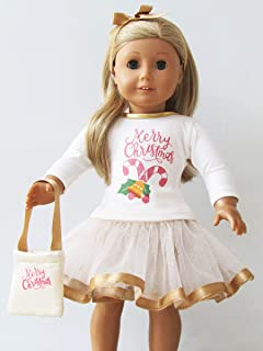 5d0bd99c7 Unique Doll Clothing Merry Christmas Gold Dress for American Girl Dolls and  Most 18 Inch Dolls