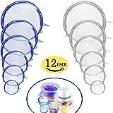Couvercle en Silicone Stretch 12 PCS Couvercle en Silicone Couvre-Savon Couvre-Couvercle en Pot Couvre-BPA-sans BPA, lave-vaisselle, micro-ondes, four et congélateur coffre-fort