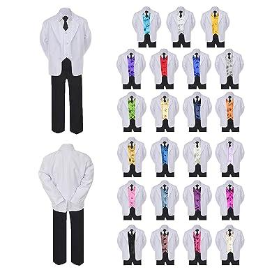 6pc Boy Formal Necktie Black White Suit Set Satin Color Vest Baby Sm-20 Teen