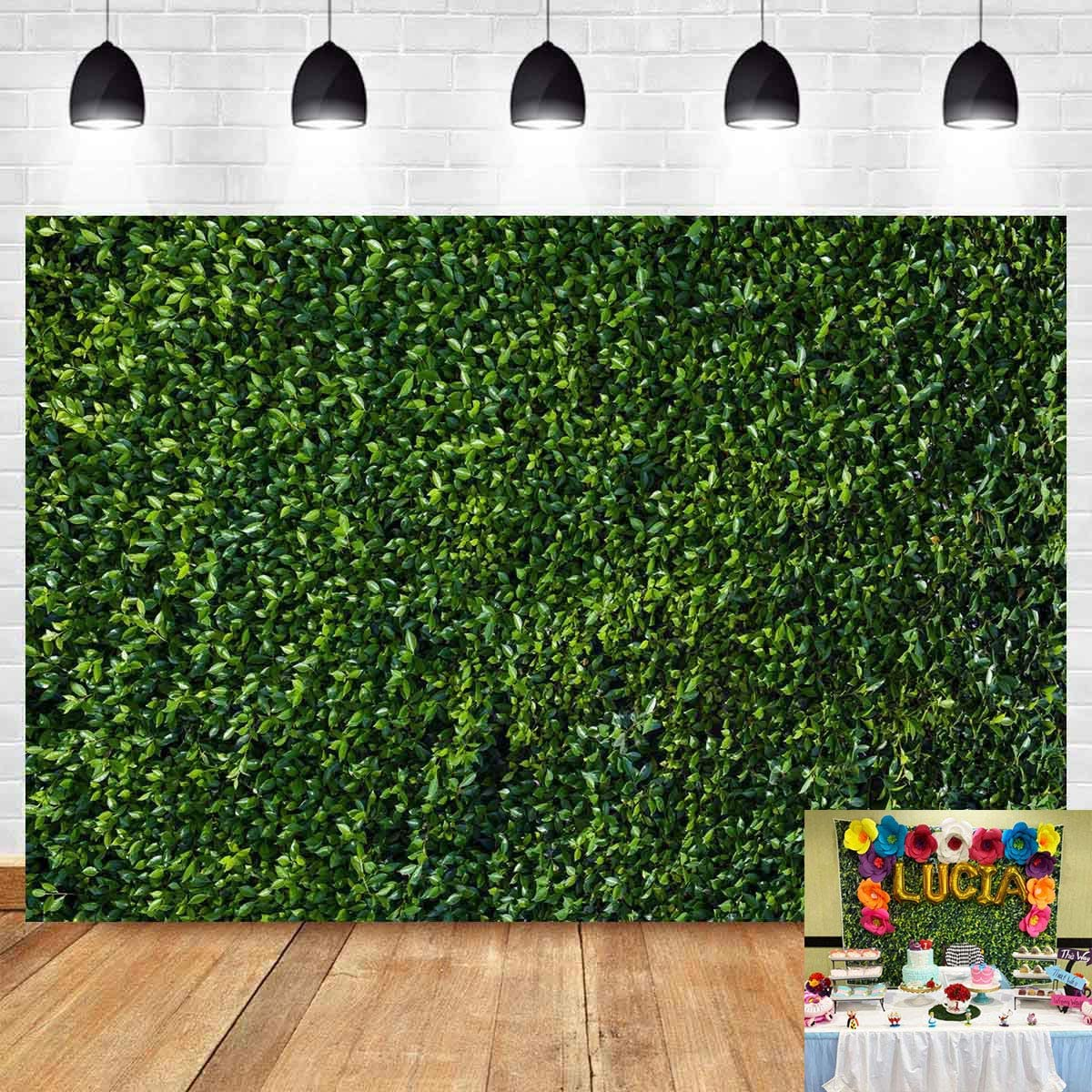3D Green Leaves Photography Backdrops Spring Nature Outdoorsy Newborn Baby Shower Backdrop Wall Art Wedding Birthday Party Decoration Photo Background Studio Props Cake Table Booth 7x5ft