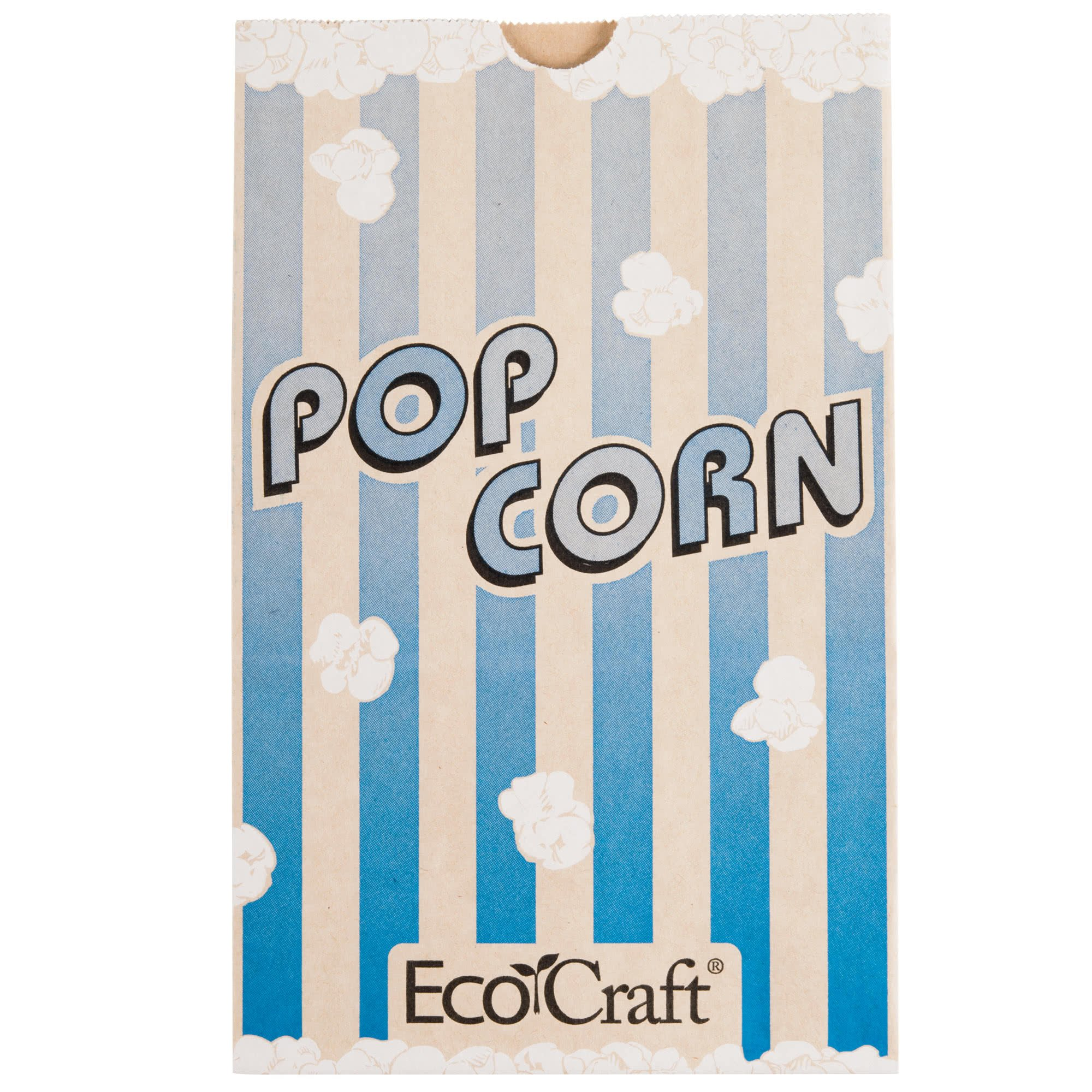 300612 5 1/2'' x 3 1/4'' x 8 5/8'' 85 oz. EcoCraft Popcorn Bag - 500/Case By TableTop King