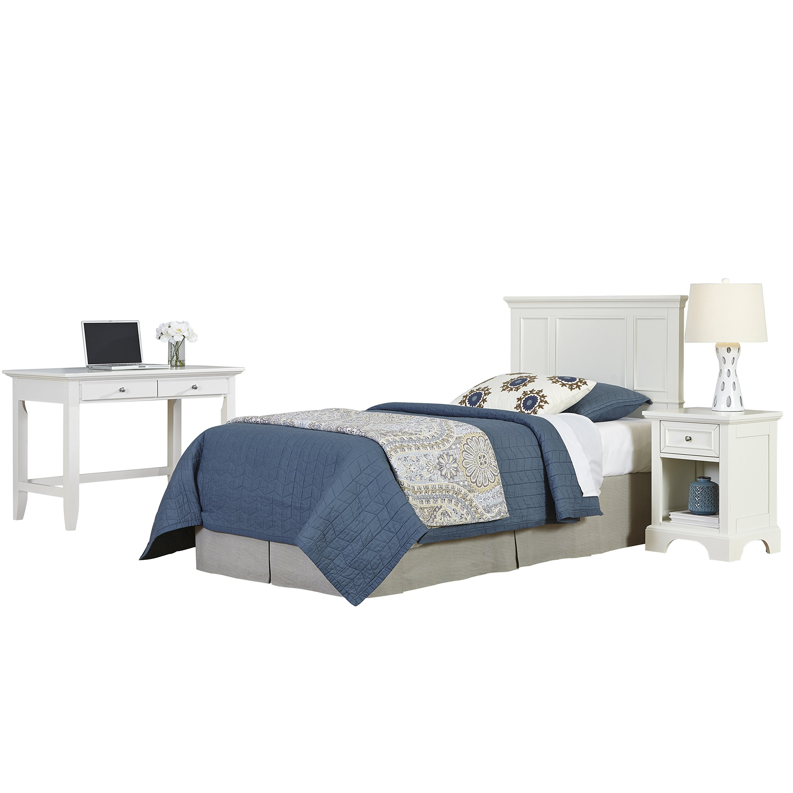 Home Styles 5530-4025 Naples Twin Headboard, Night Stand and Student Desk, White
