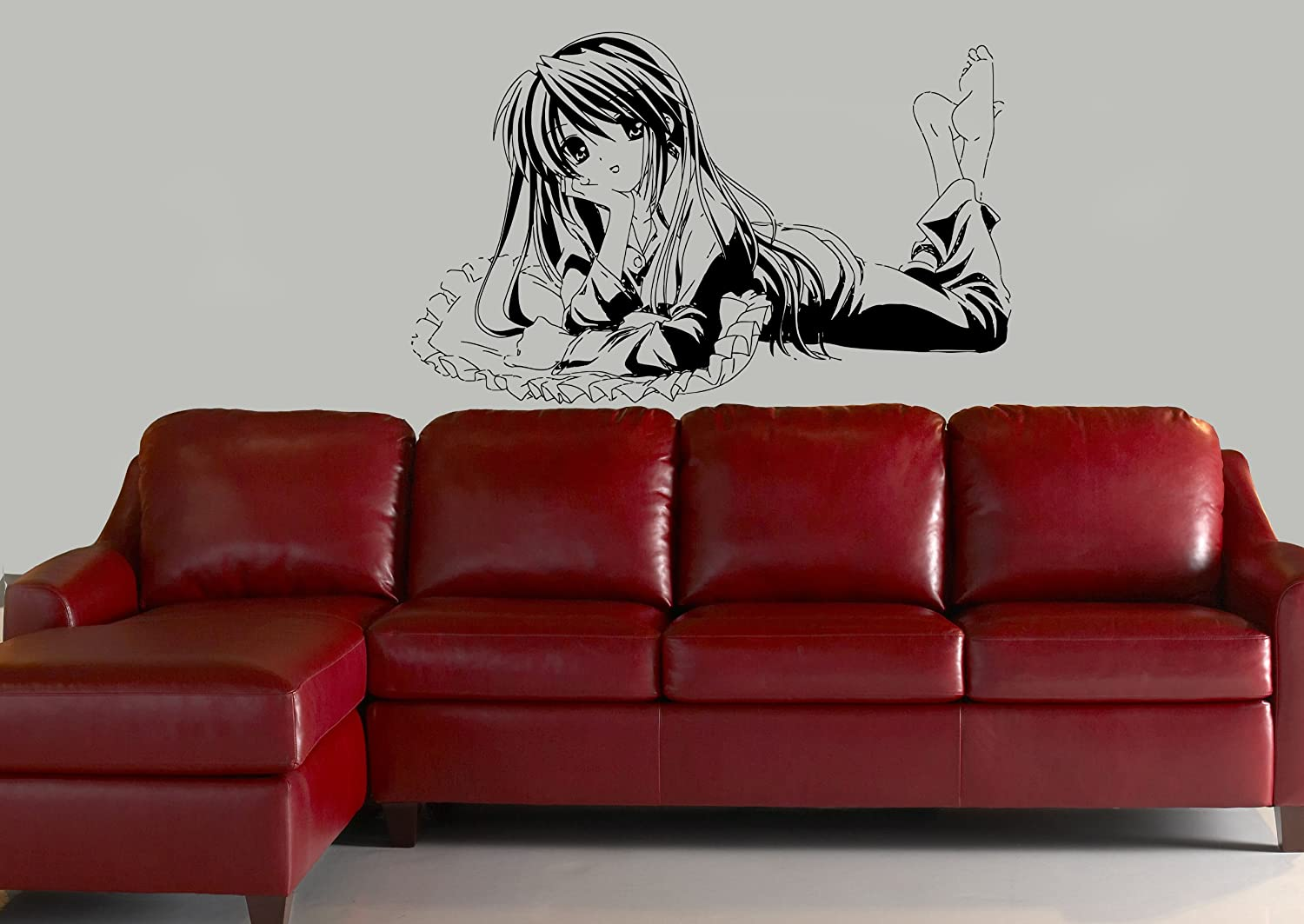 amazon com wall mural vinyl sticker decal anime manga pretty girl amazon com wall mural vinyl sticker decal anime manga pretty girl on pillow d1650 home kitchen