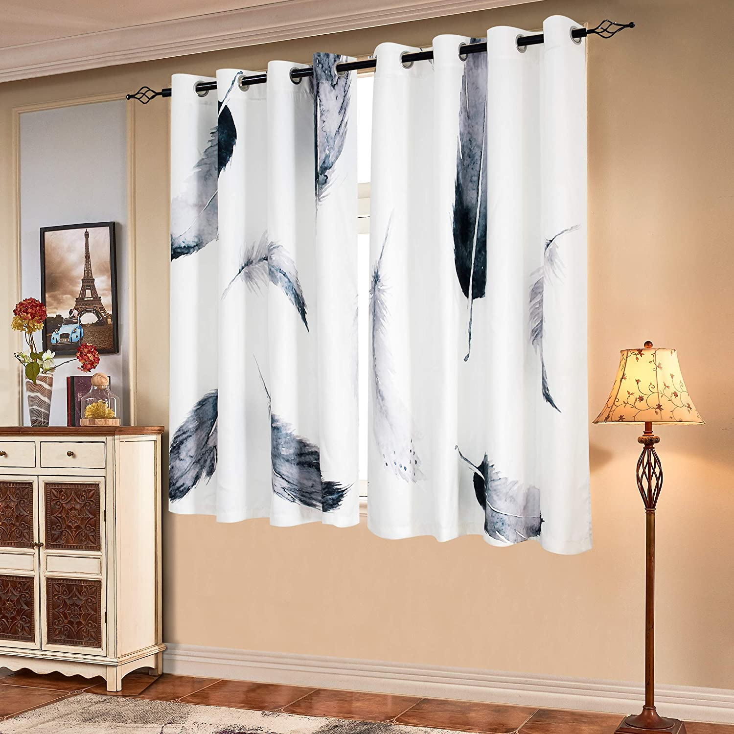 Subrtex Printed Curtains Blackout For Bedroom Living Room Kids Room Dining Room Valance Colorful Window Drapes 2 Panel Set 52 X 63 White Kitchen Dining