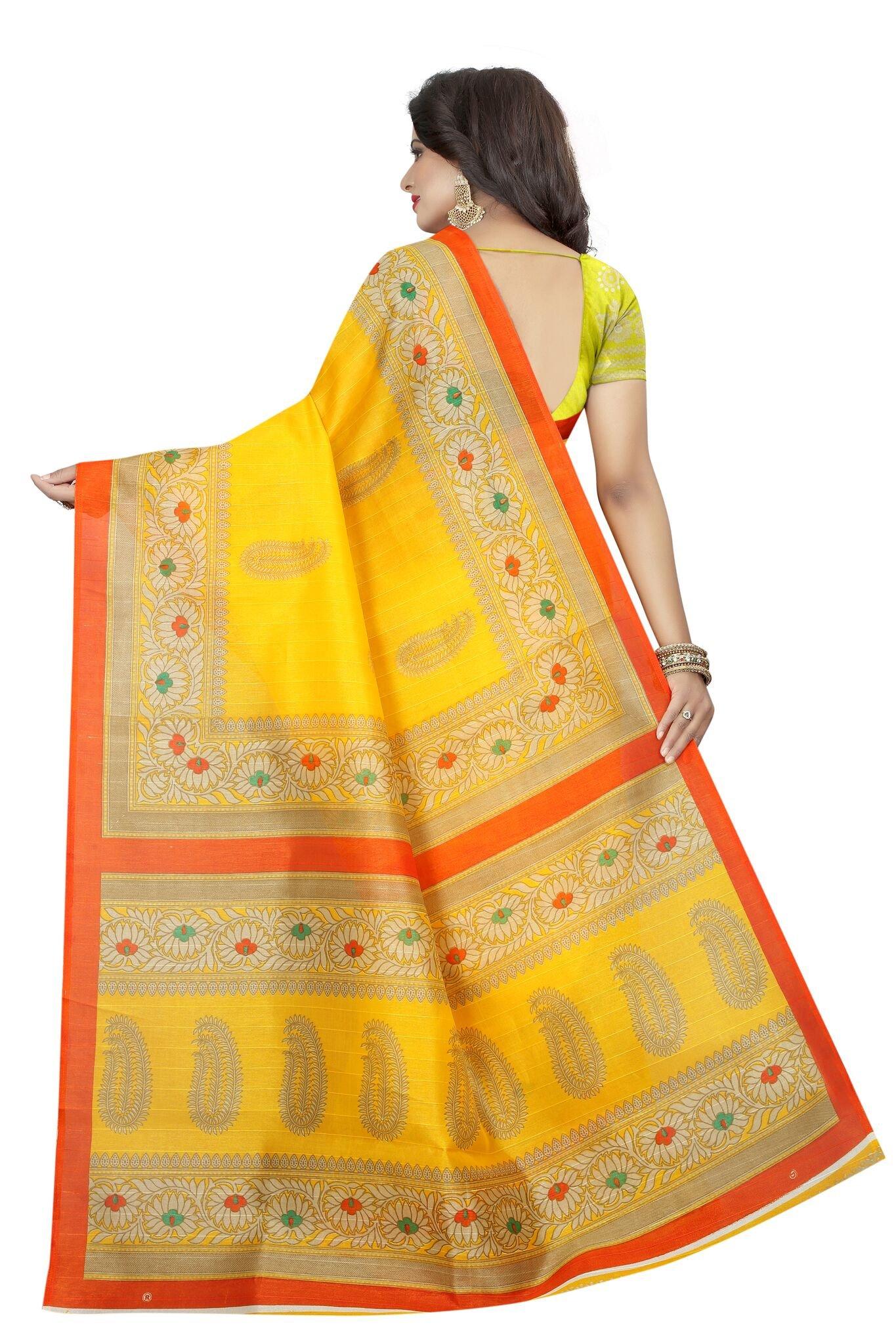 Shonaya Women`S Bhagalpuri Silk Printed Saree with Unstitched Blouse Piece (Yellow) by Shonaya (Image #4)