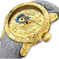 Orologio Uomo Orologio da Polso Automatico Meccanico Impermeabile Sport Militare Scheletro Grigio Orologi in Caucciù Lusso Oro Grandi Stile Chinese 3D Drago Design Analogico