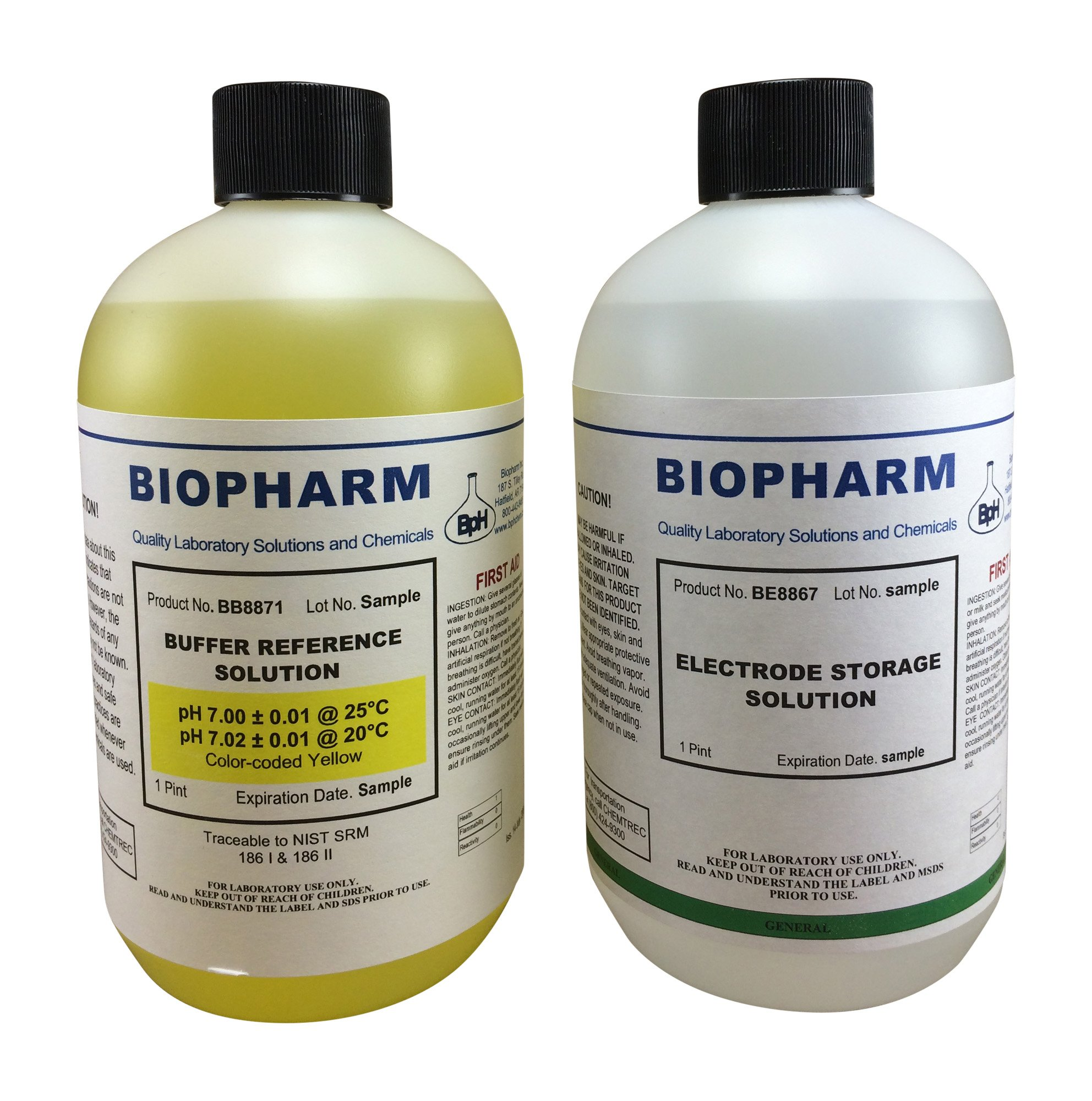 Biopharm pH Calibration Kit (2) 500 ml (16oz) Bottles pH 7.0 Buffer and Electrode Storage Solution NIST Traceable Reference Standard for All pH Meters by Biopharm