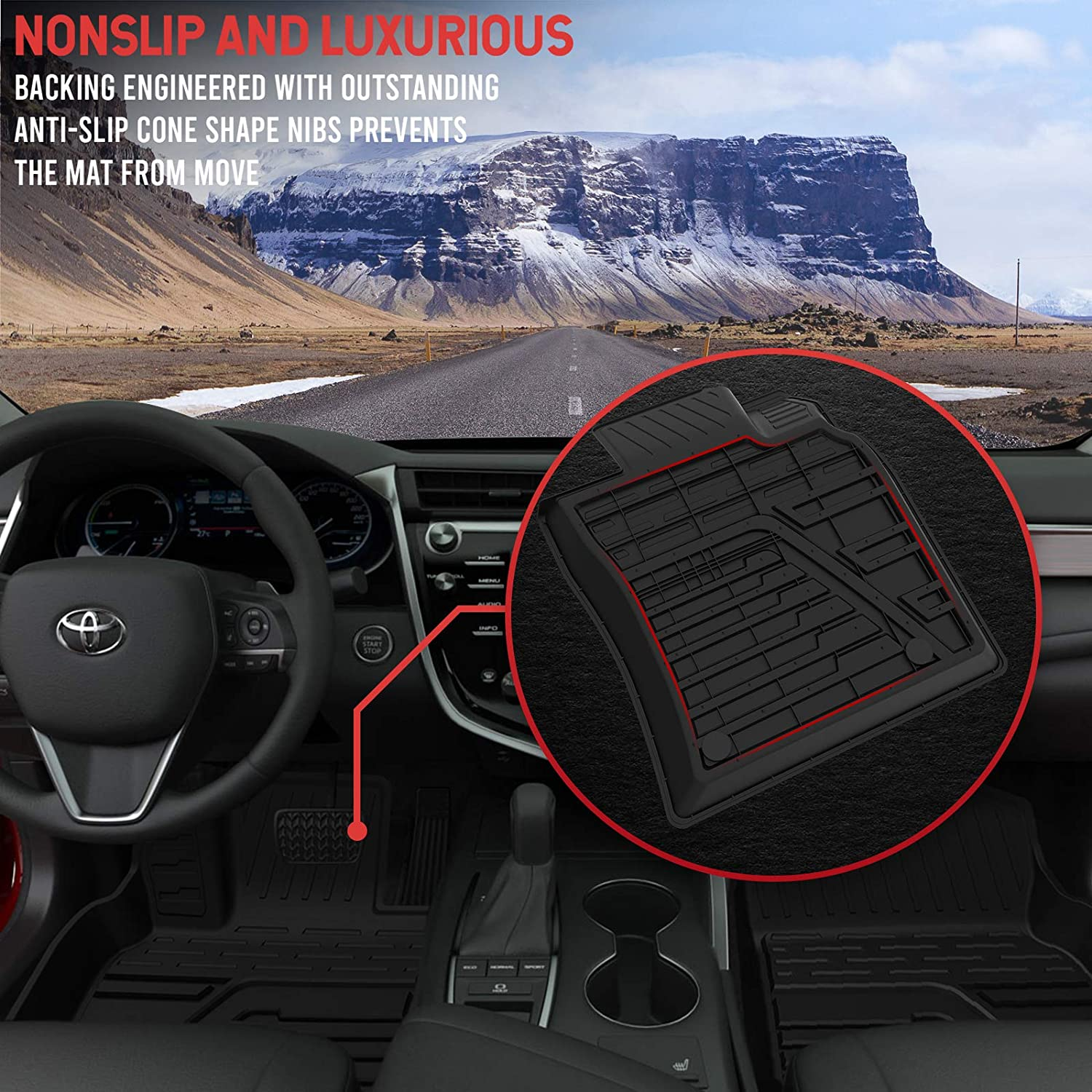 Rear Black TPE All-Weather Guard Includes 1st and 2nd Row: Front Floor Mats for 2018-2021 Toyota Camry Standard Models Full Set Liners Accessories