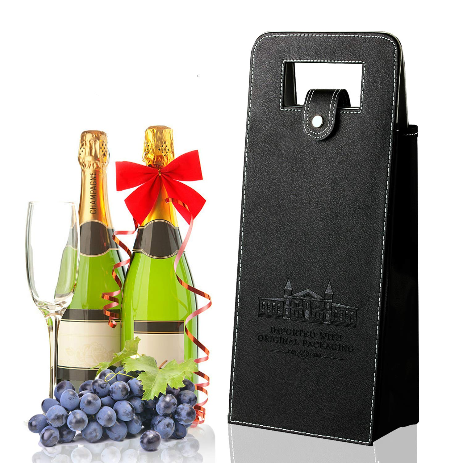 Buy Sunfuny Wine Gift Bags Upscale Reusable Leather Wine Tote Bag Carrier, Double Layered Leakproof Protective 2 Bottles Wine/Champagne/Beer Travel Carrying Bag for Picnic, Business Gift Online at Low Prices in India -