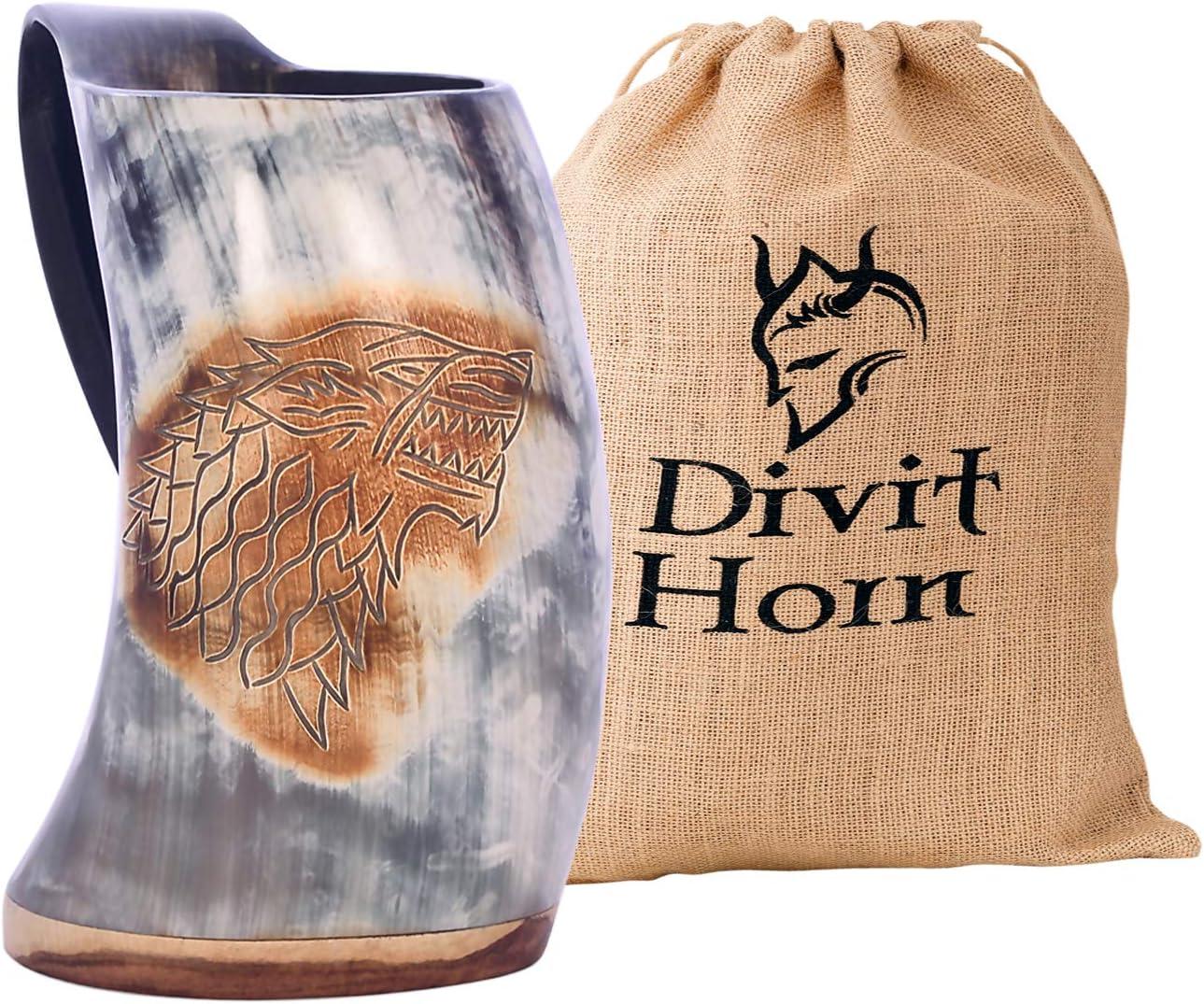 Bottle, Fenrir Divit Viking Fini Naturel Corne /à Boire Chope
