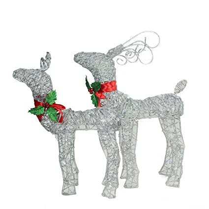 set of 2 led lighted glitter buck and doe reindeer christmas yard art decorations