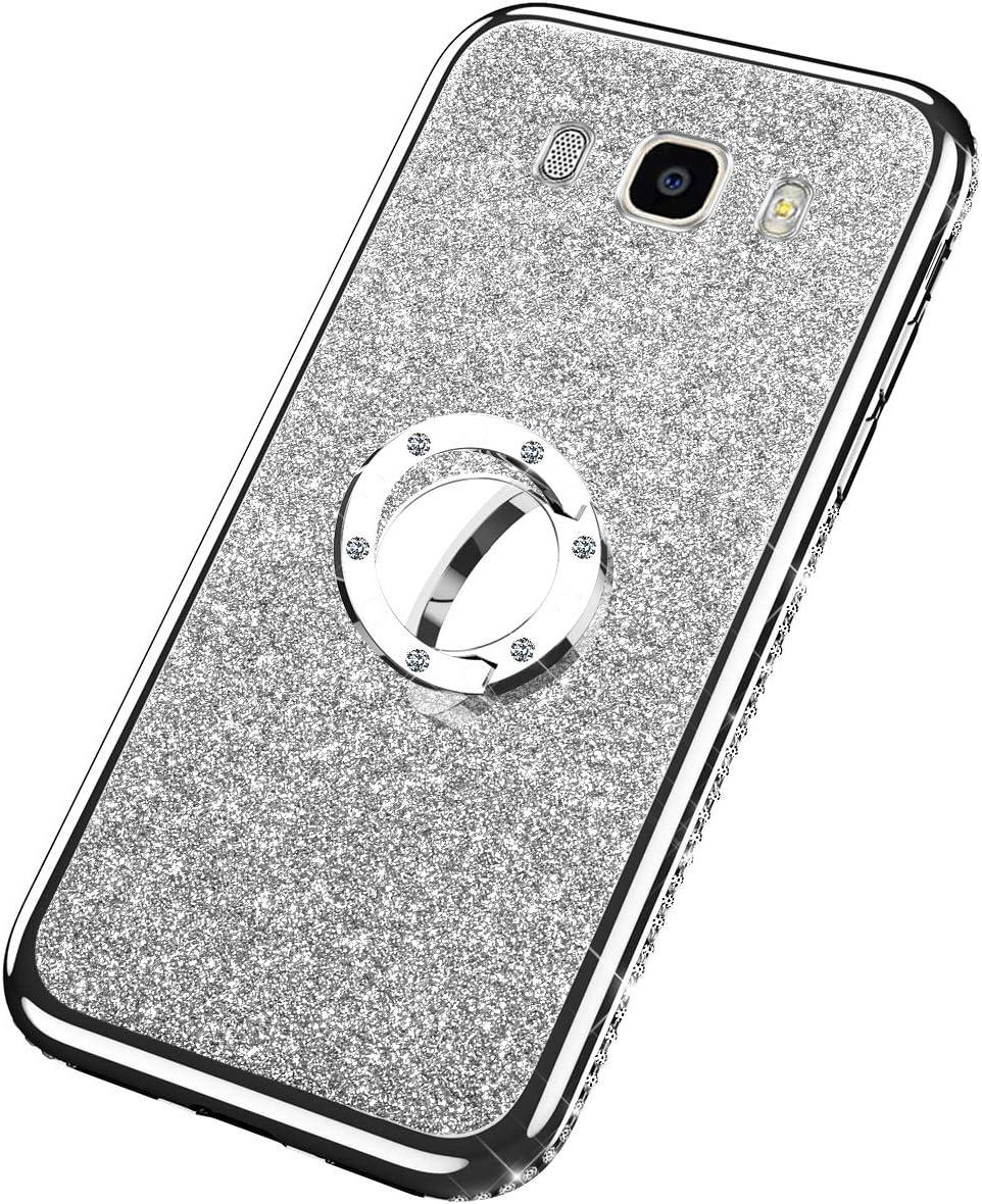 Uposao Custodia Compatibile con Samsung Galaxy J7 2018,Luxury Bling TPU Protettiva 360/°Ring Compatibile con Supporto Magnetico Morbido Silicone Bumper Ultra Sottile Ultra Hybrid Cover Argento