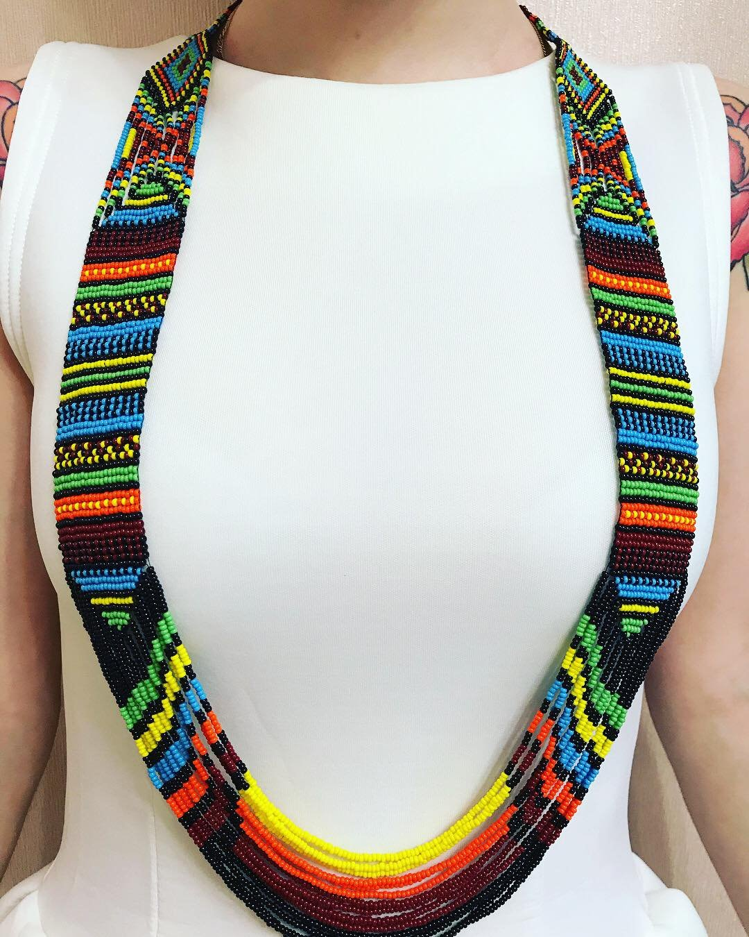 Amazon Com Mexican Bead Loom Necklace Native America Style Bead Necklace Native American Style Beaded Jewelry Large Boho Necklace Colorful Jewelry Handmade