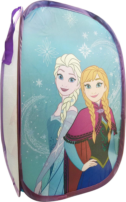 "Jay Franco Disney Frozen Snowflake Dreams Pop Up Hamper - Features Anna & Elsa - Mesh Laundry Basket/Bag with Durable Handles, 22"" x 14"" (Official Disney Product)"