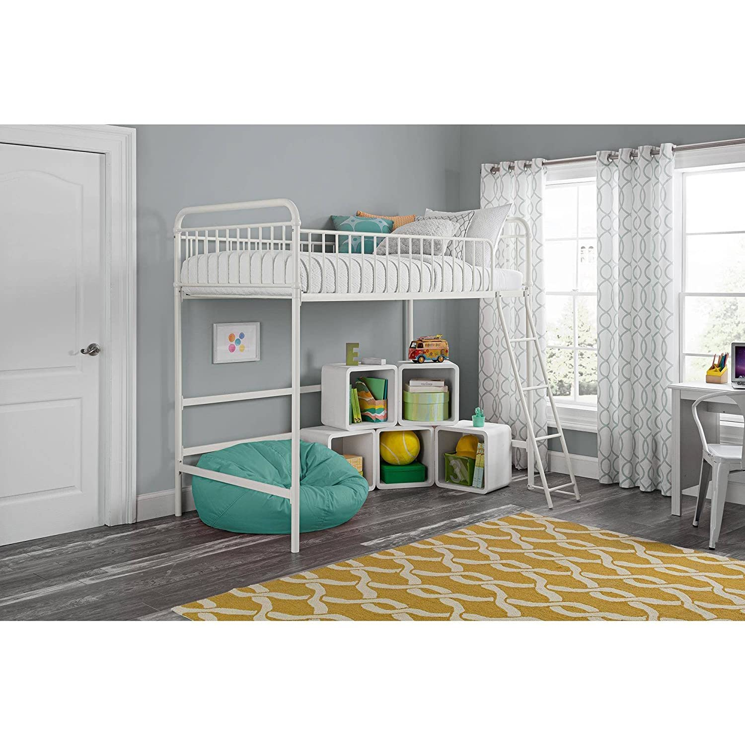 Better Homes and Gardens Kelsey Twin Metal Loft Bed, Sturdy metal frame with secure guardrails and ladder White