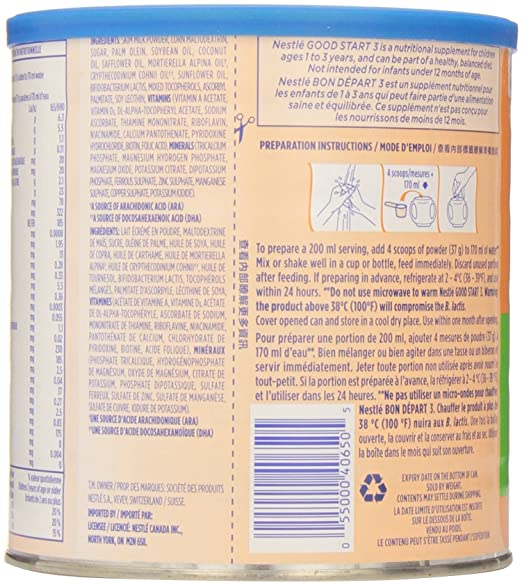 Amazon.com: Nestlé Good Start Plain-Milk/3-Toddler Milk Probiotic 680g: Health & Personal Care