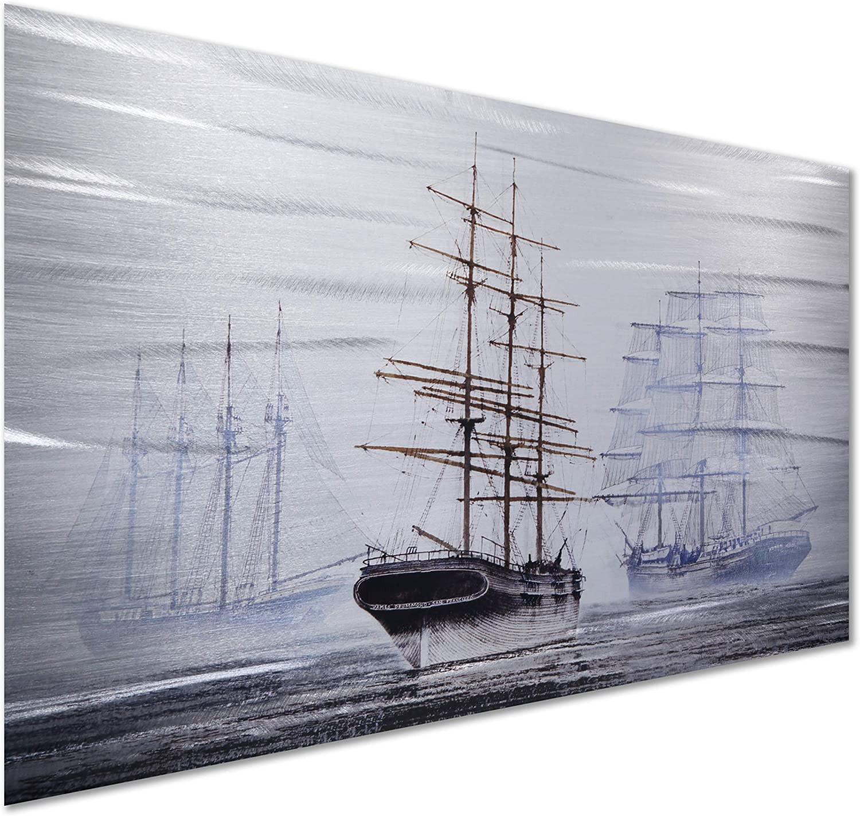 "Pure Art Ship in Sight Metal Wall Art Sculpture - Ocean Blue Modern Outdoor Wall Decor for Living Rooms, Kitchen & Office 16"" x 24"""