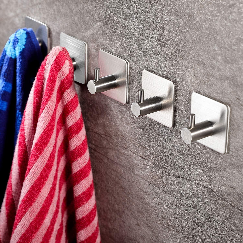 ZUNTO 5 Piezas Ganchos Adhesivos ParaPared Gancho para Baño, Acero Inoxidable 304