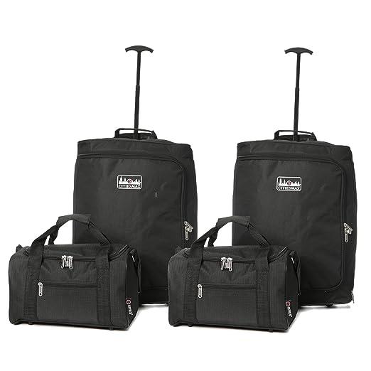 5 Cities carrito para cabina Ryanair y segunda maleta de mano Ryanair, 55 cm, 42 L, Negro