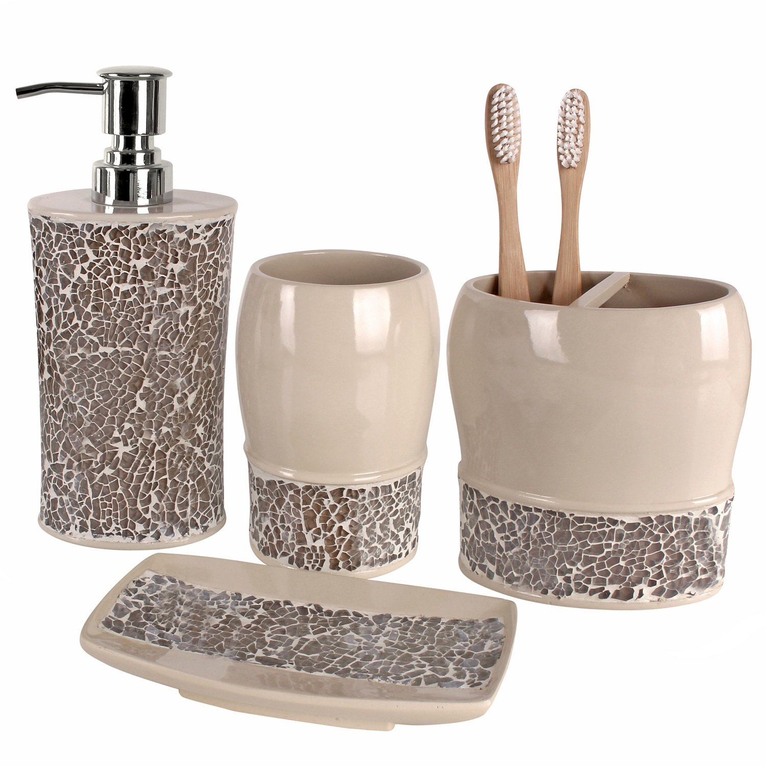 Creative Scents Broccostella Bath Ensemble, 4 Piece Bathroom Accessories Set, Broccostella Collection Bath Set Features Soap Pump, Toothbrush Holder,Tumbler, Soap Dish-Dazzling Accents of Mosaic Glass
